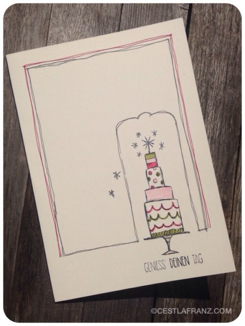 "Birthday card using stampin' up hostess stamp set ""Für alle Lebenslagen"" and some doodling for the frame"