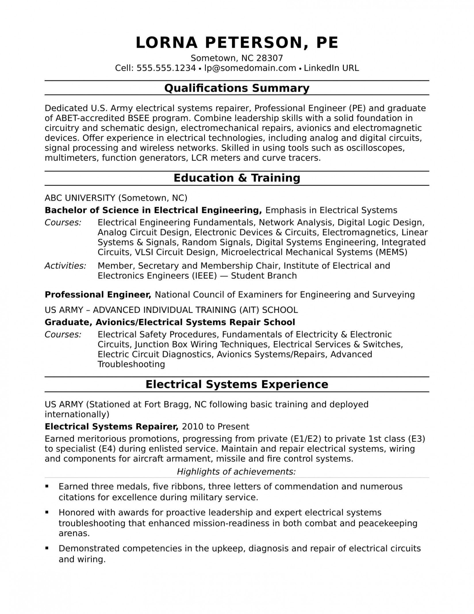apprentice electrician resume template