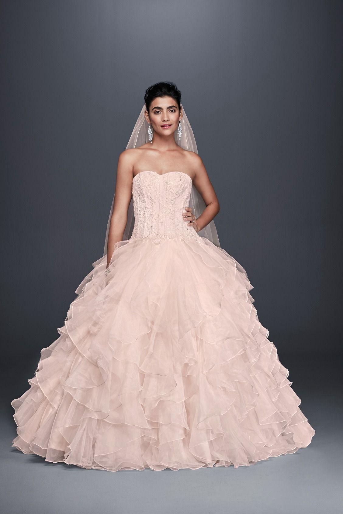 5fc27883e3cf Whisper Pink Strapless Ruffled Skirt Ball Gown Oleg Cassini Wedding Dress  at David's Bridal