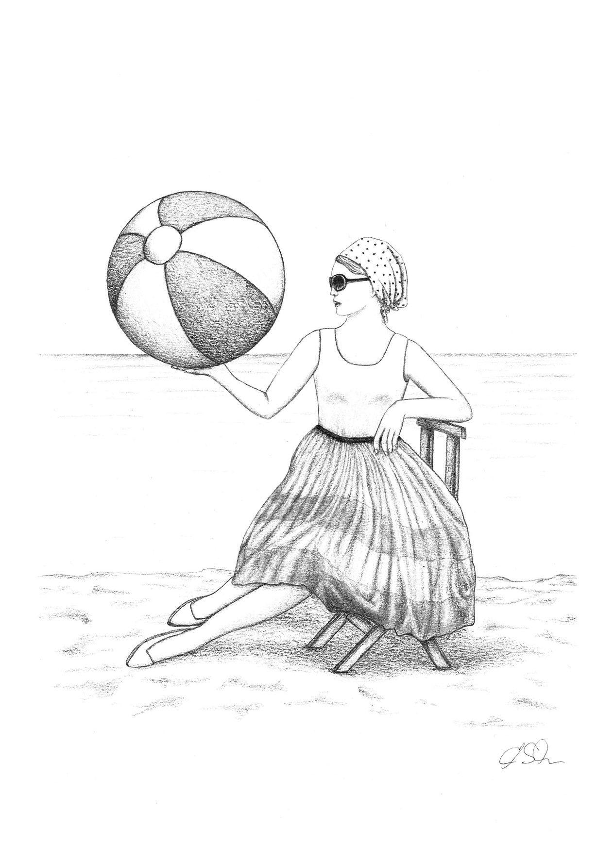 Zeichnung Frau Am Strand Bleistift Graphit Din A4