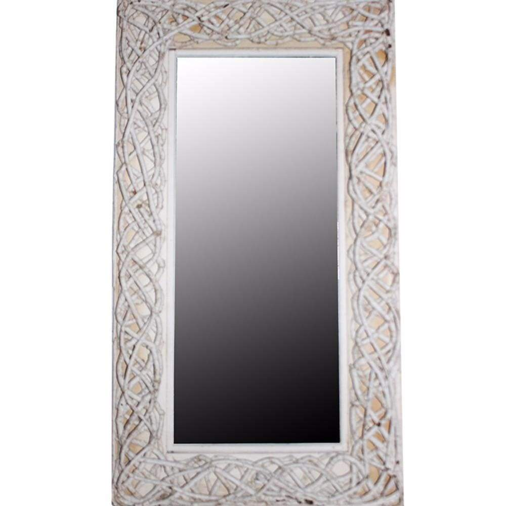 Aesthetic Mirror With Rattan Frame, White By Benzara ...