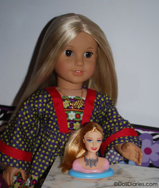 Dollar store find for American Girl Julie - a mini doll styling head