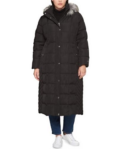 5df314ae4b8 Tommy Hilfiger Plus Size Faux Fur Trimmed Down Long Puffer Coat ...