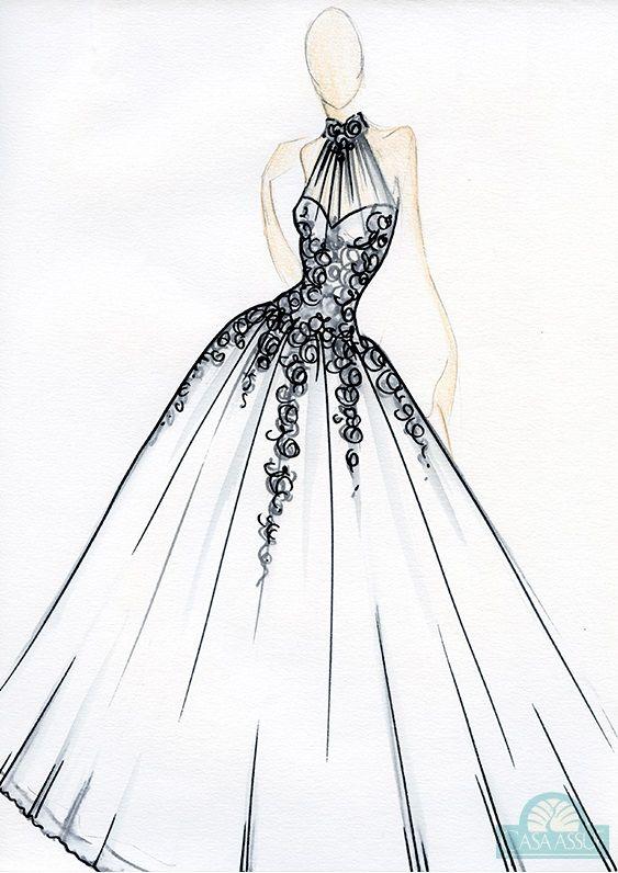 Www Etsy Com Shop Dresssketch Com Imagens Desenhos De Moda