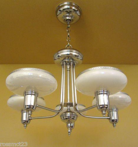 Vintage Lighting Stunning Chrome And Glass 1930s Chandelier By Gill Ebay Vintage Lighting Lighting Chandelier