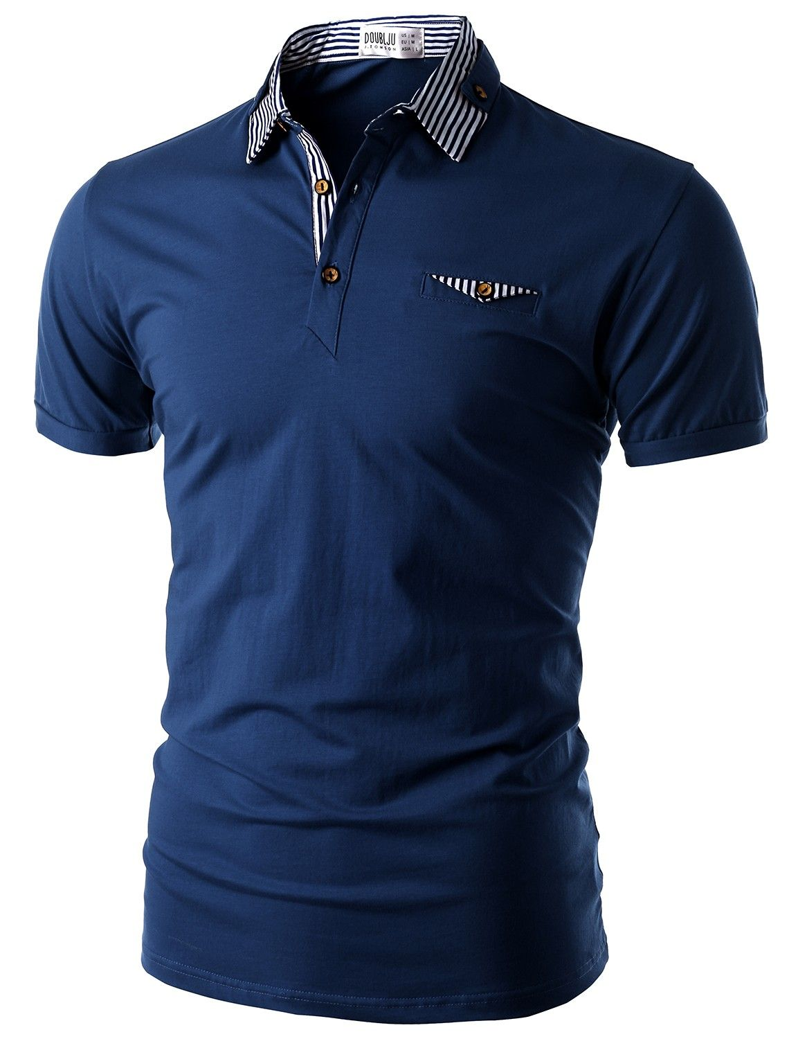 Doublju Mens Short Sleeve Polo Shirt With Neck Band Detail Cmtts06