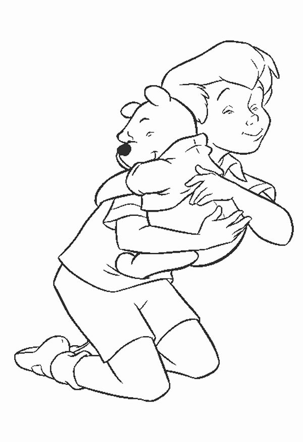 Disney Coloring Book - Christopher Robin gives Pooh a big beat hug