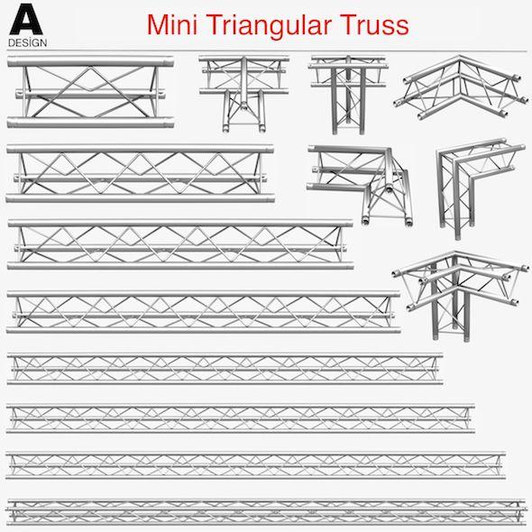 Mini Triangular Truss Collection 14 Pcs Modular 3d Model Roof Truss Design Exhibition Stand