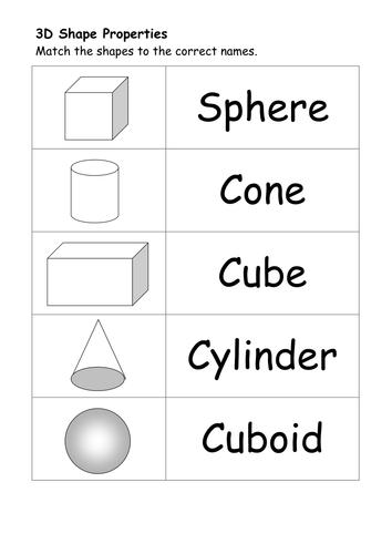 1st grade, 2nd grade Math Worksheets: Write the 3-D shape's name ...