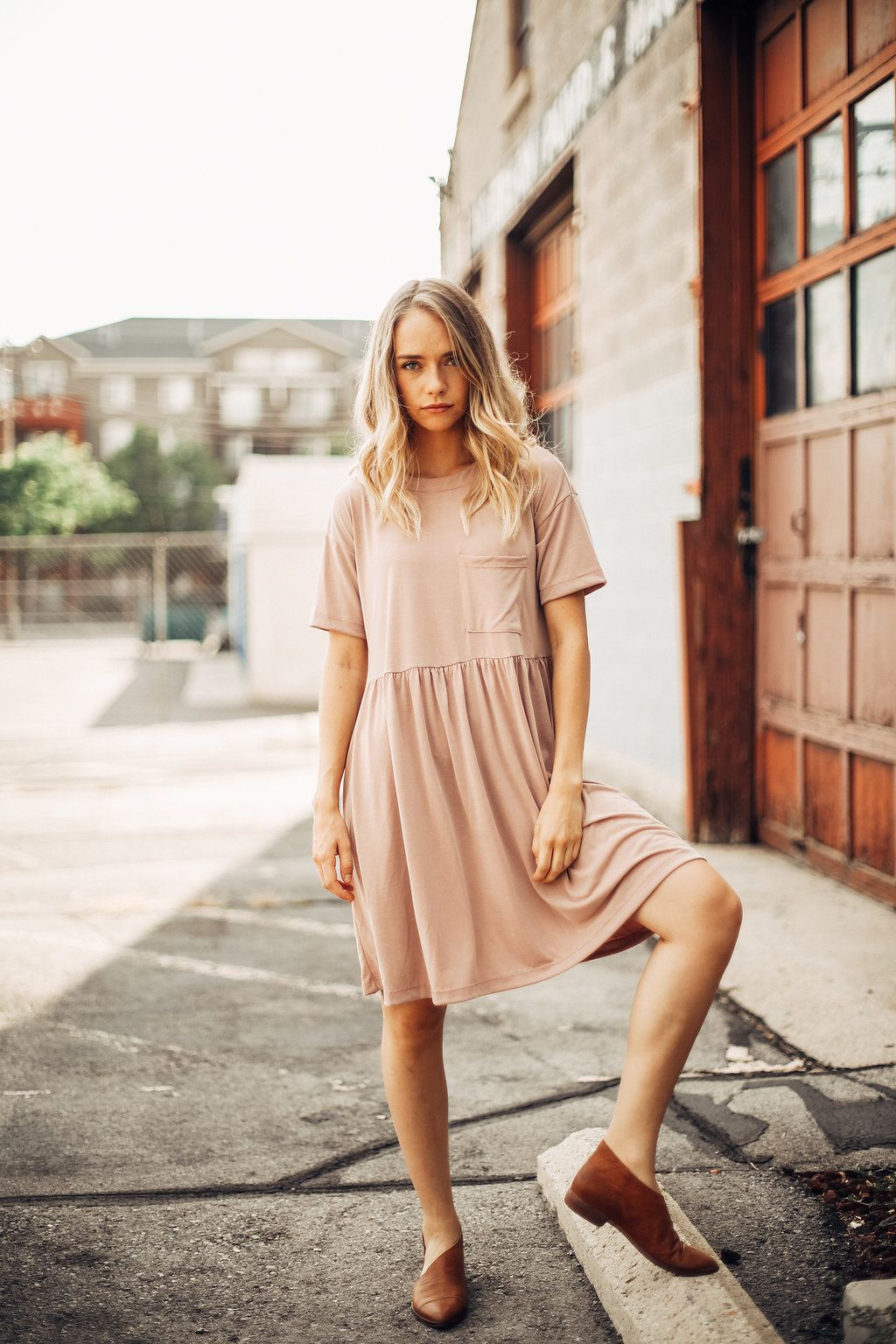 The Portrait Empire Dress In Blush Dresses Womens Clothing Dresses Casual Blush Outfit Casual Dresses For Women Modest Dresses