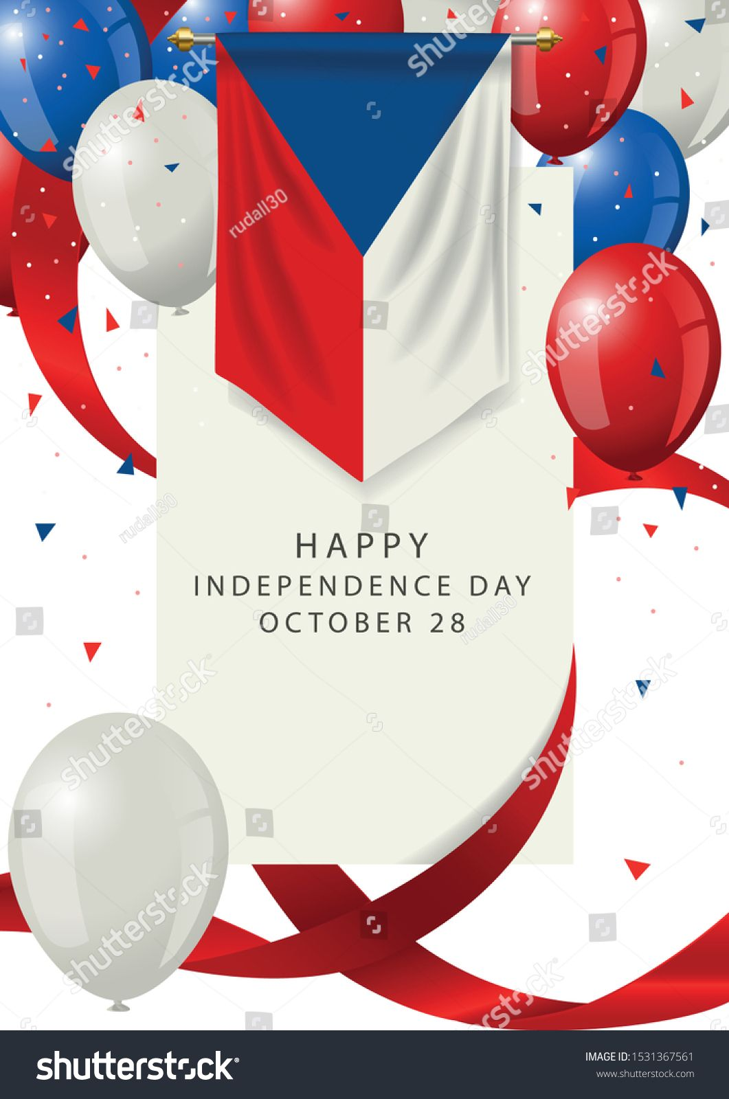 Czech Republic independence day greeting card Czech Republic holiday on 28th of October Czech Republic insignia with decorative balloons and ribbons