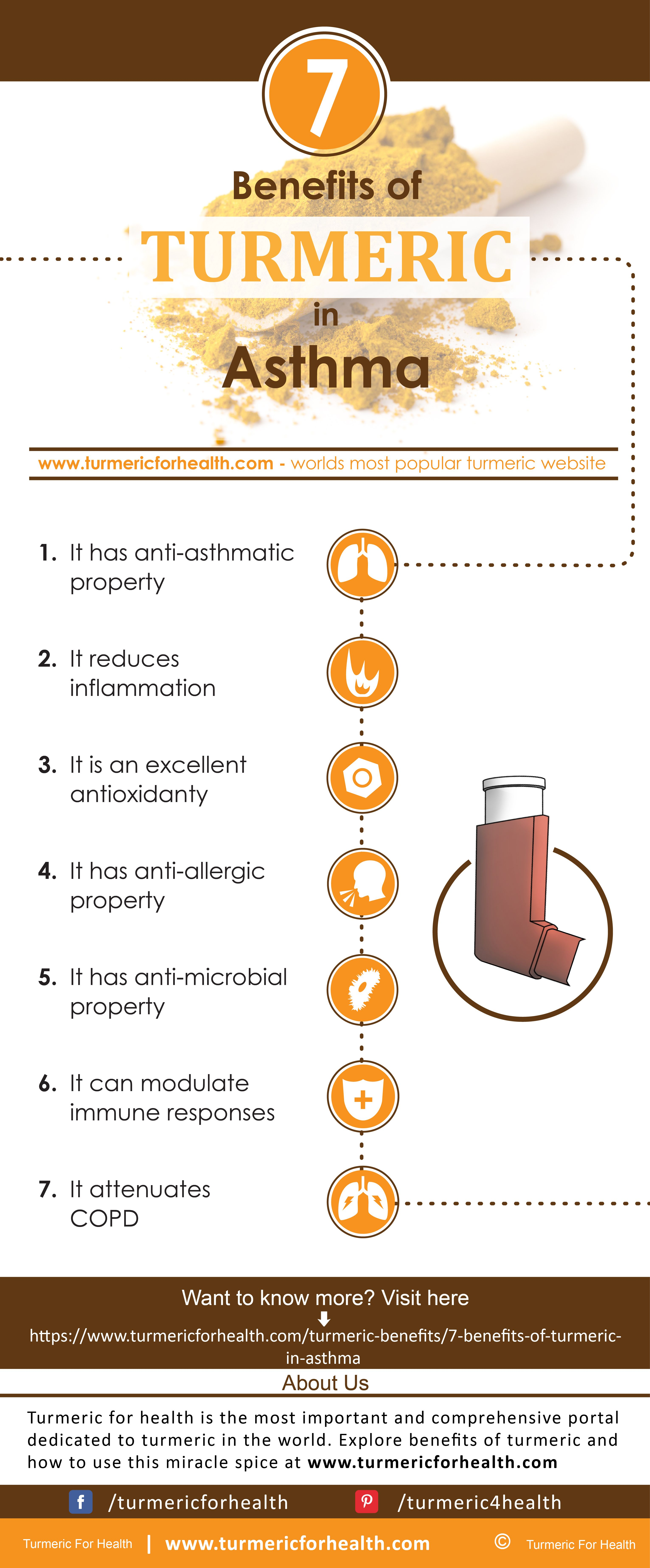 Turmeric finds its use in asthma primarily due to its anti-inflammatory and  anti-asthmatic property. Curcumin and other bioactive compounds present in  ...