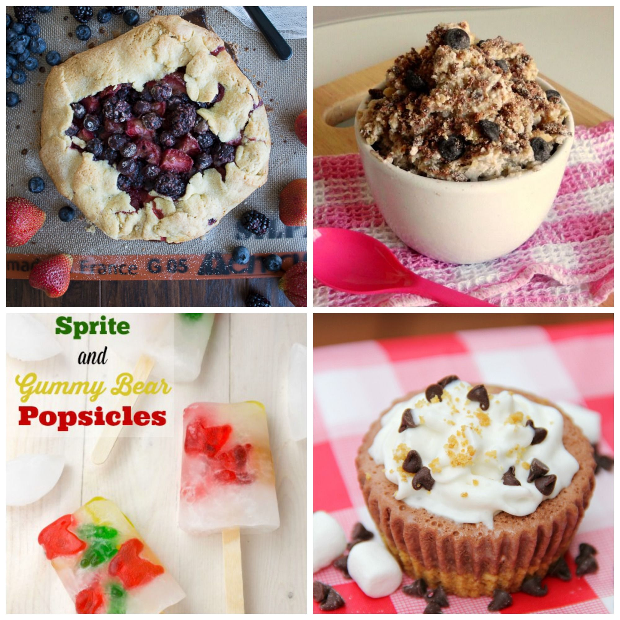 Frozen Smores, Sprite and Gummy Bears Popsicles, Cookie Dough Frozen Yogurt and Triple Berry Rustic Pie recipes.