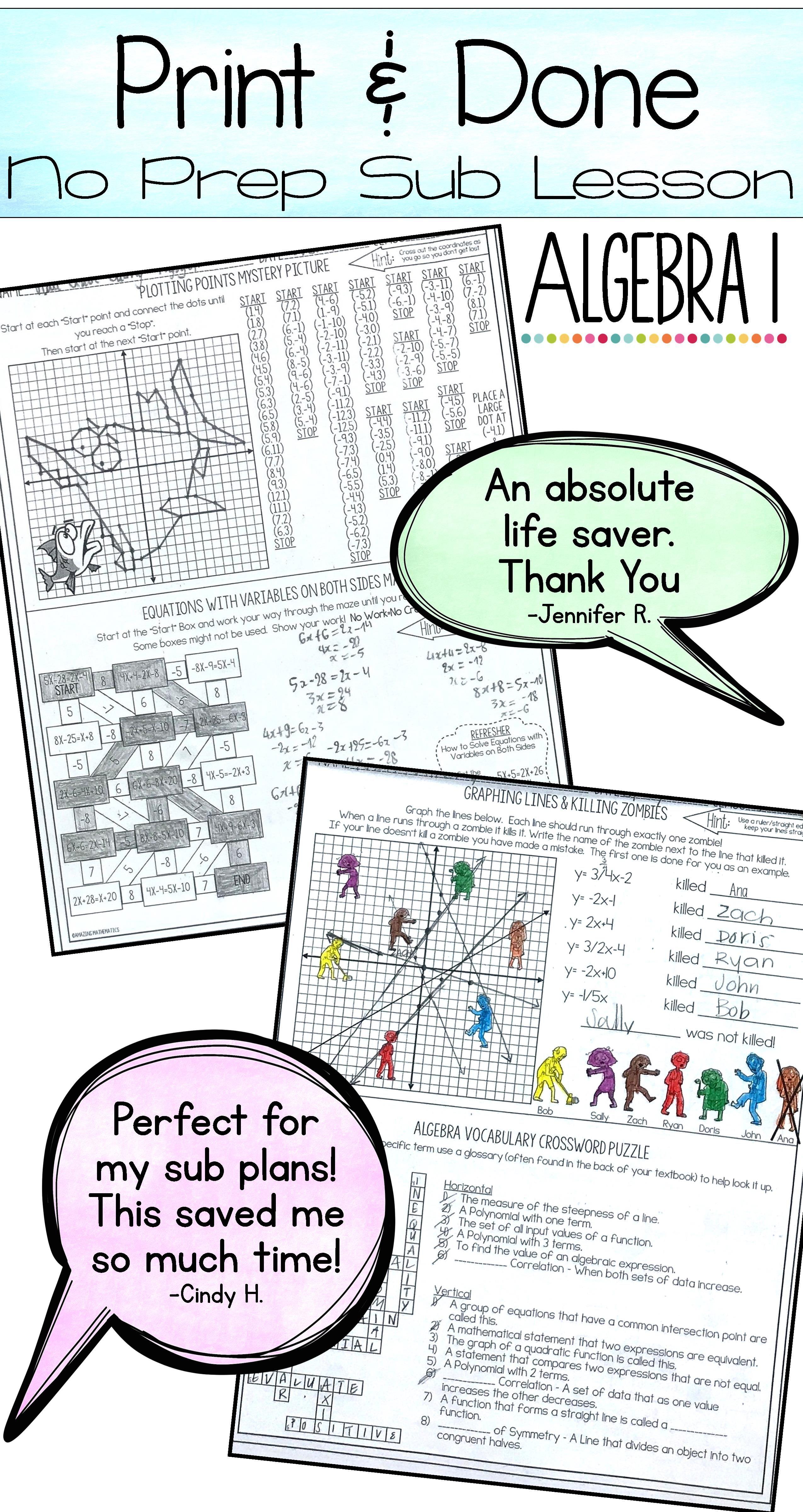 Algebra 1 No Prep Sub Lesson Substitute Teacher Activity