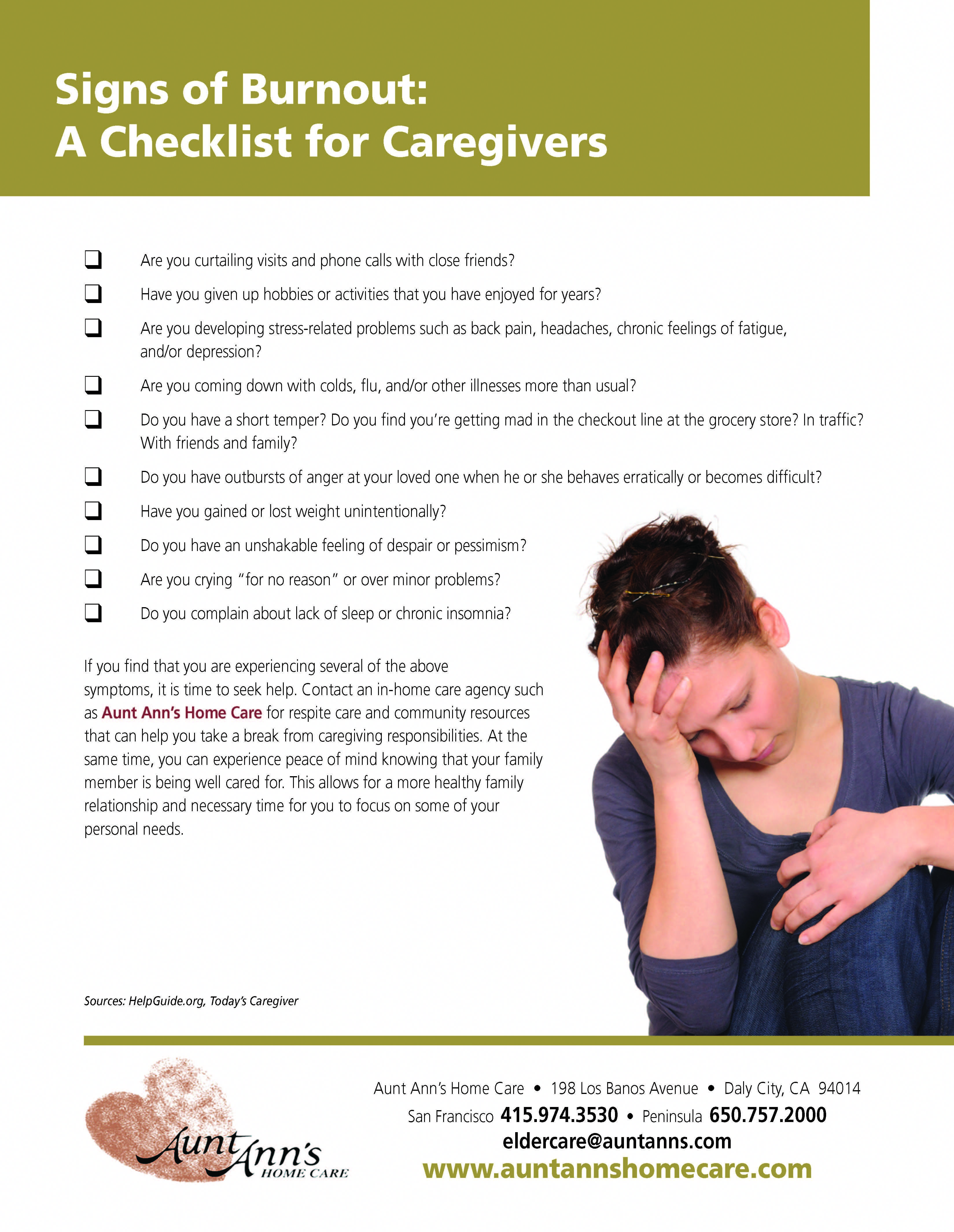 Signs of Caregiver Burnout Caring for a family member or