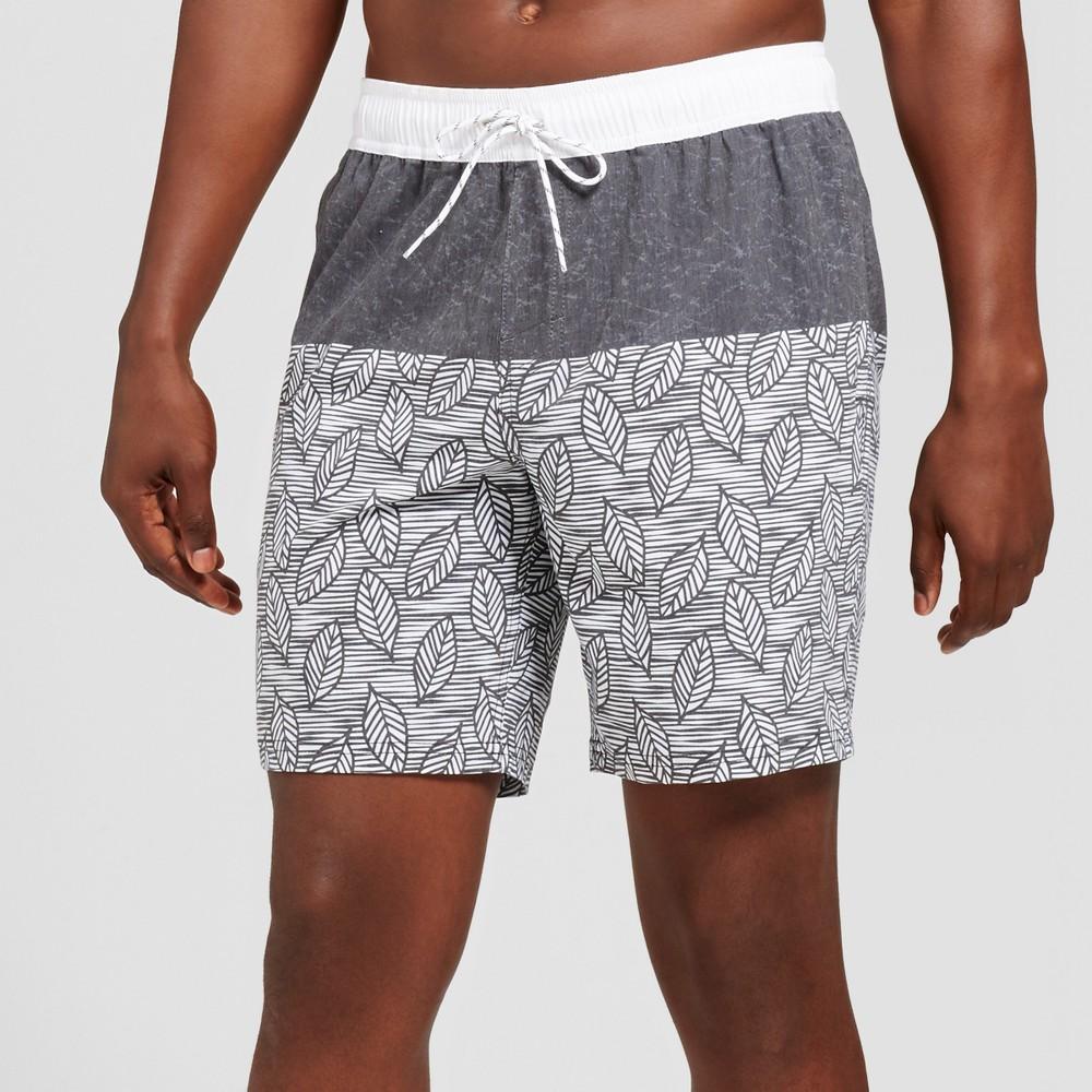 b75e7f61661a2 Men's 9 Black and White Leaves Board shorts - Goodfellow & Co Black XL
