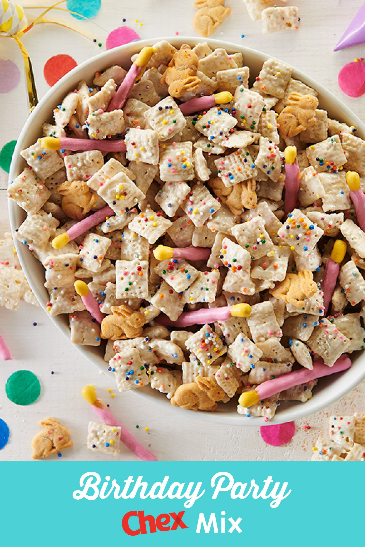 Groovy Birthday Party Chex Mix Recipe Birthday Snacks Birthday Food Funny Birthday Cards Online Chimdamsfinfo