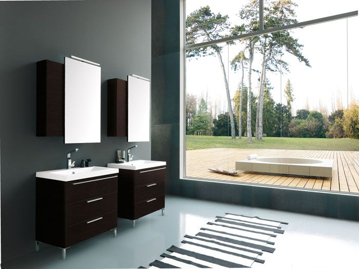 view, outdoor hot tub   Floating bathroom vanities ...