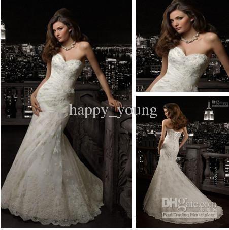 Sexy Long Mermaid Wedding Dresses 2013 Appliques Lace Bridal Gowns Flower Organza Beach
