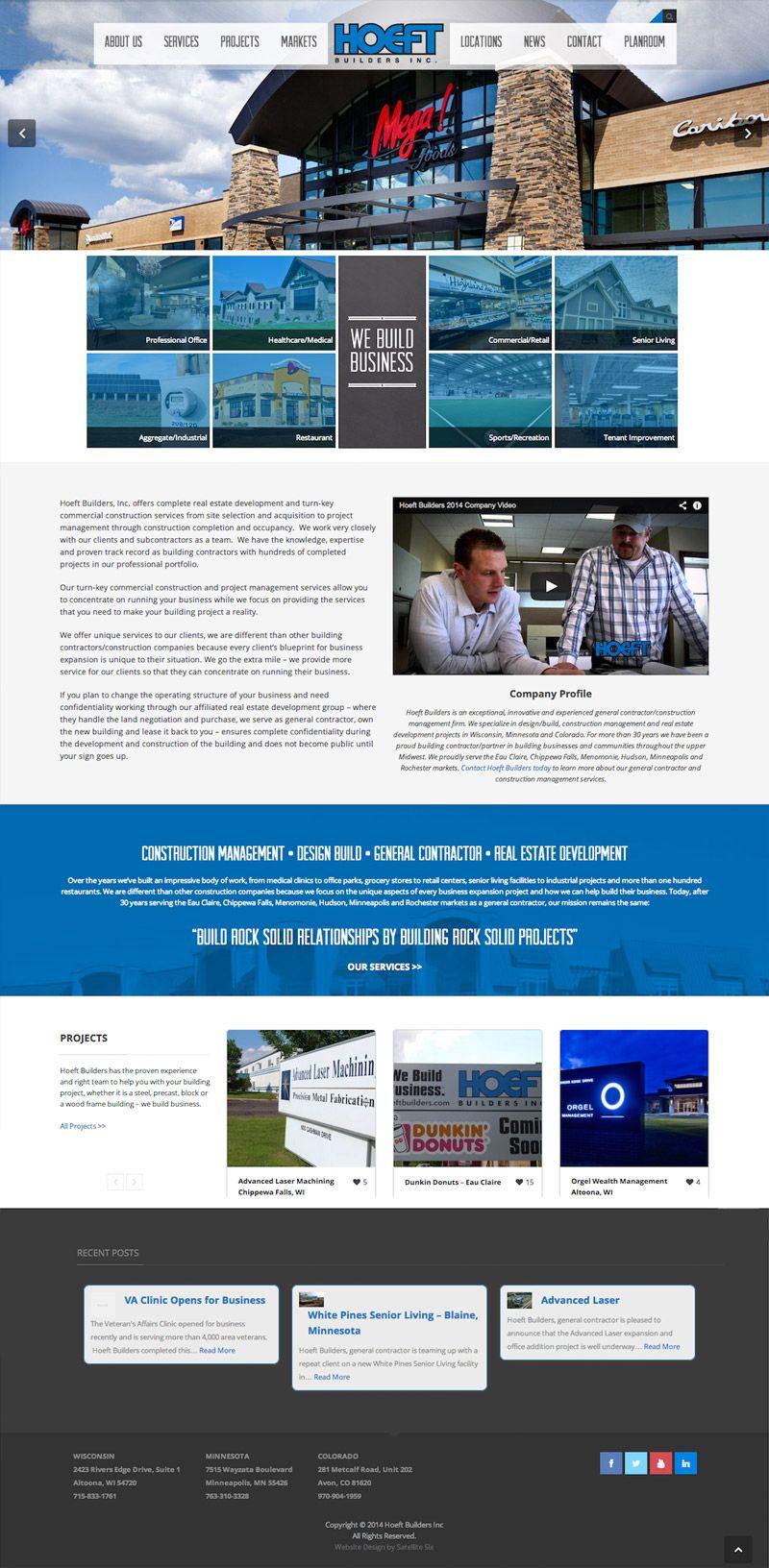 Hoeft Builders Website Design Website Development Webdesign Webdevelopment Satellite Six Eau Claire Wi Construction Branding Design Marketing