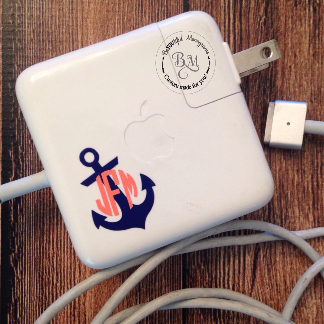 I love how this custom Nautical Anchor Monogram Decal turned out on a Mac Charger!!!