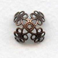 Fancy Filigree Large Bead Caps Oxidized Copper 15mm (12)