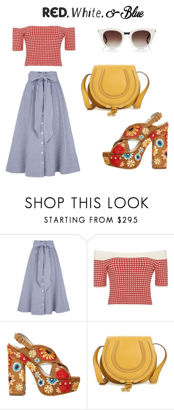 """""""i have a checkered past"""" by vkrene on Polyvore featuring Lisa Marie Fernandez, Jonathan Simkhai, Alice + Olivia, Chloé, Thierry Lasry, redwhiteandblue and july4th"""