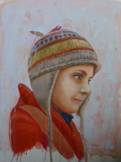 step by step watercolor portrait painting demo, on ARTiful painting demos by Sandrine Pelissier