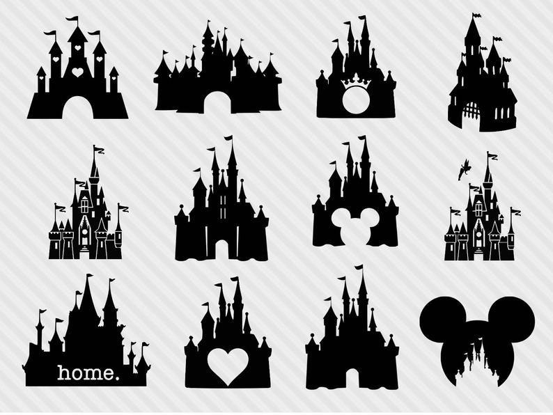 Disney Castle Svg Bundle Disney Castle Clipart Castle Svg Png Princess Clipart Disney Castle Drawing Disney Castle Tattoo Disney Castle