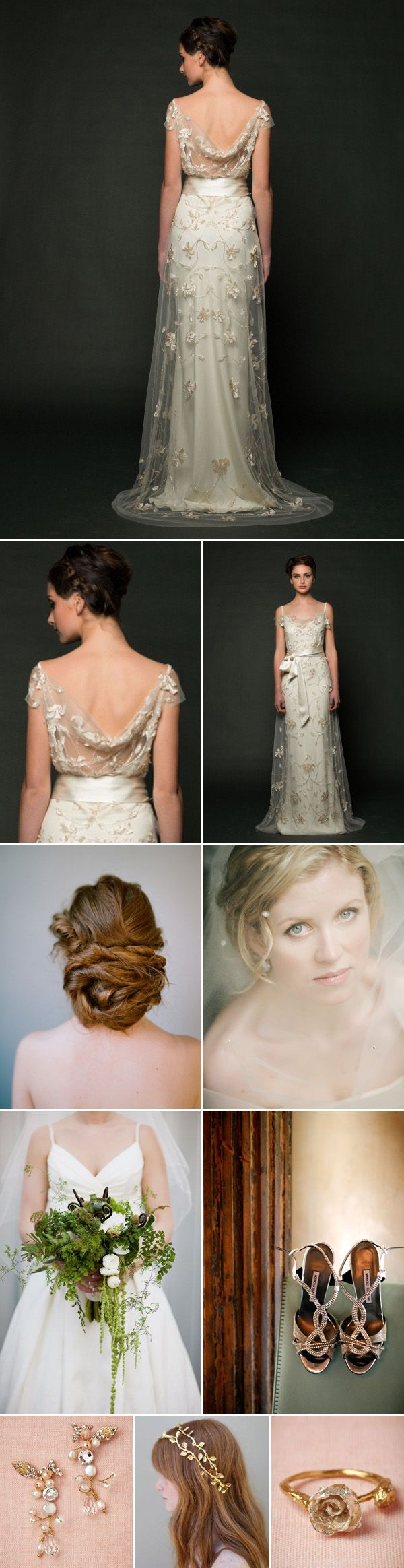 This gorgeous ethereal gown by Sarah Janks inspired this complete bridal style wedding day look | via junebugweddings.com