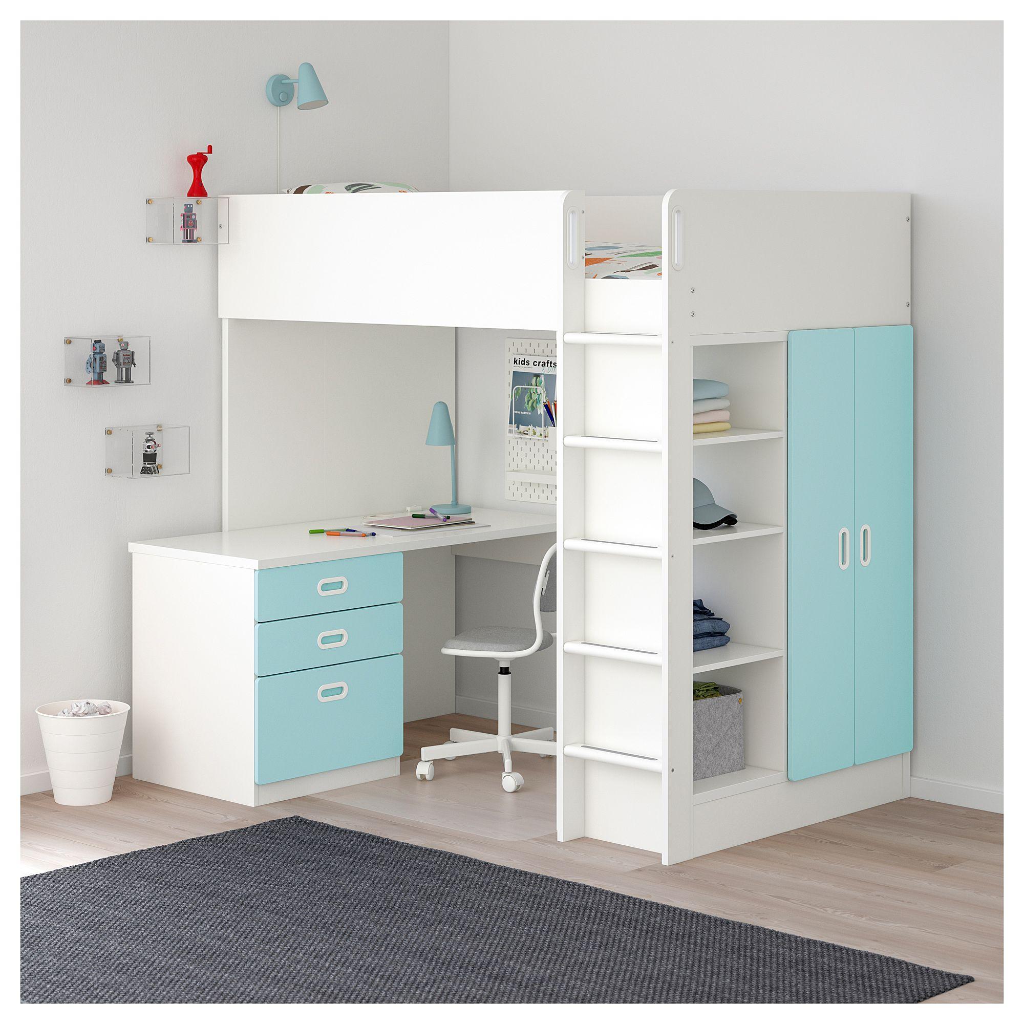 Ikea stuva fritids loft bed with drawers doors white light also blue rh pinterest