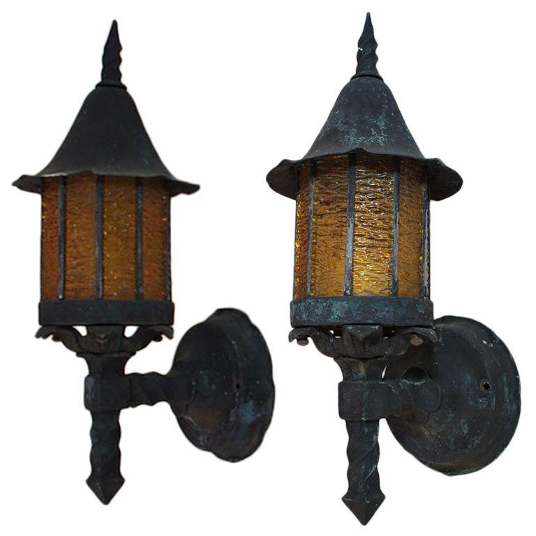 Antique Pair Art And Craft/crafman/english Tudor Copper Outdoor Sconces.  Outdoor SconcesOutdoor LightingEnglish ...