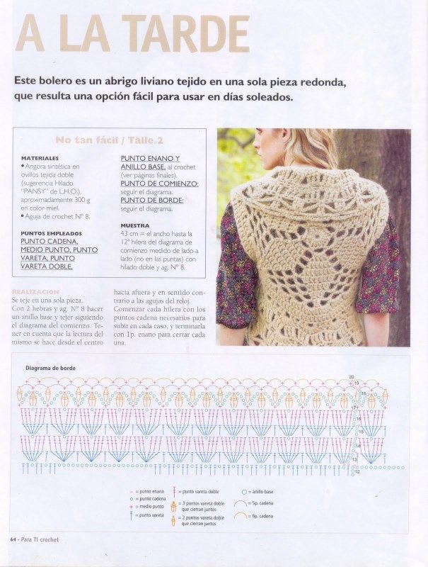 A LA TARDE | crochet | Pinterest | Boleros, Crochet and Crochet jacket