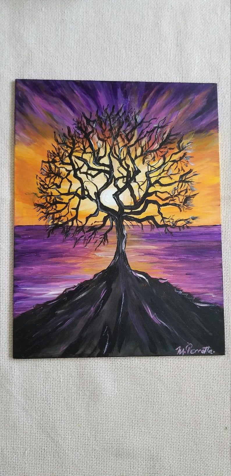Tree silhouette and sunset painting, Purple and yellow sunset painting,Black  tree acrylic painting,Meditation painting