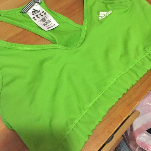 Lime Green Adidas sports bra Green adidas sports bra! Doesn't have tags on it anymore but it has never been worn. Great protection for comfy fit! Size medium, hit the offer button  Adidas Intimates & Sleepwear Bras