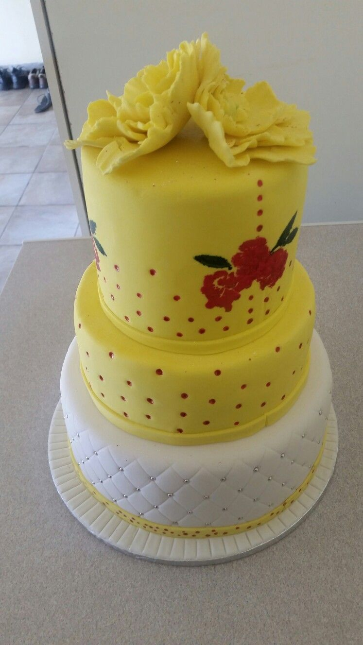yellow and white tsonga traditional wedding cake