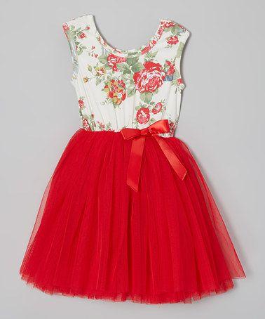 Designer Kidz Red Floral Tutu Cap Sleeve Dress Infant