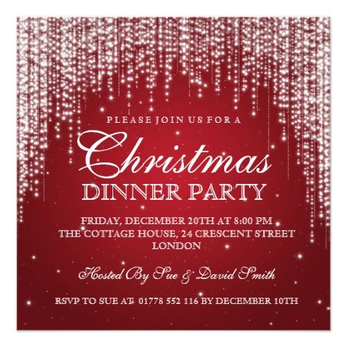 Elegant Dazzle Christmas Holiday Party Red Card Christmas Cards