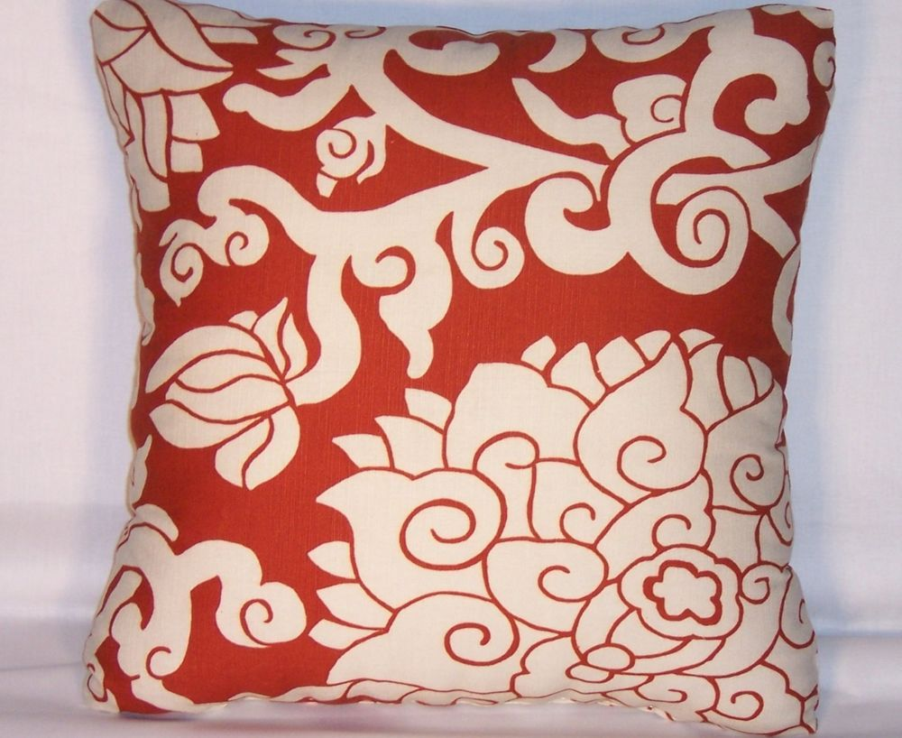 Rust Lotus Floral Throw Pillow   Thomas Paul Blossom Cinnebar