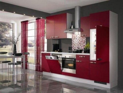 18 Diseños de Cocinas Modernas Kitchen design and Kitchens - plan de travail cuisine rouge