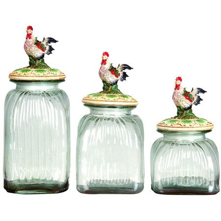 Set Of Three Gl Jars With Rooster Finials Product Small Medium And Large Jarconstruction Material Polyresin Glfeatures Will Enhance Any Dcor