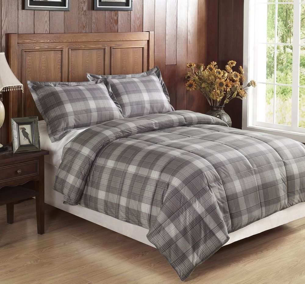 Bedding jardin collection bedding collections bed amp bath macy s - 2pcs Light Grey Plaid Flannel Feel Down Alternative Comforter Set Twin Twin Xl