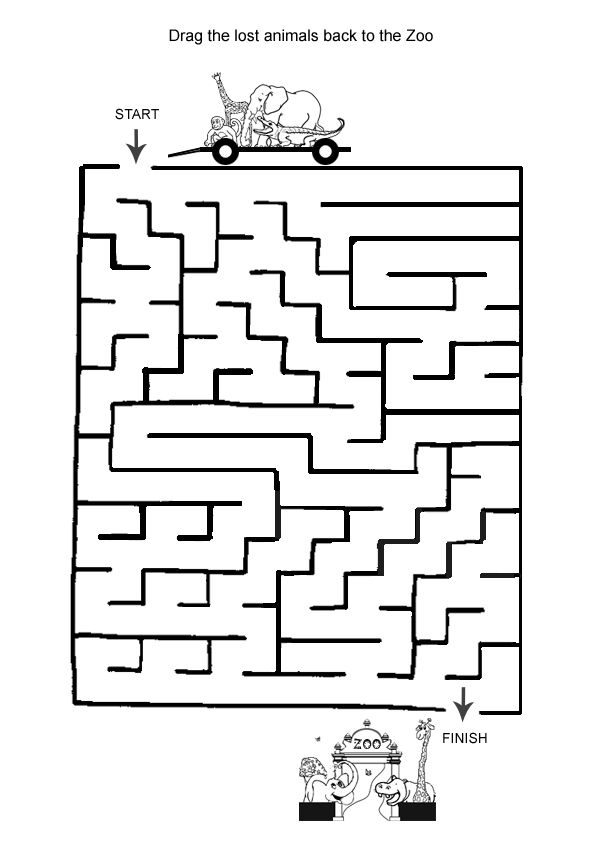 Free Online Printable Kids Games - Animal Maze Kids activities