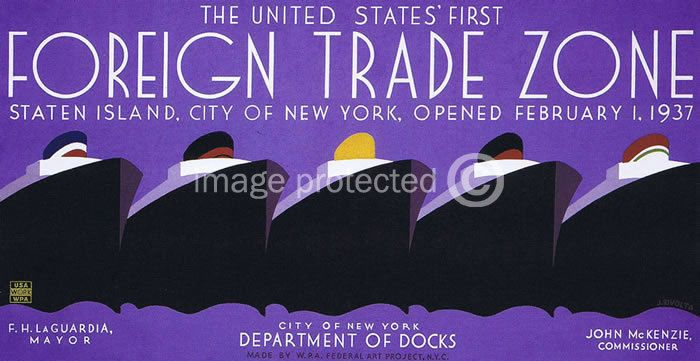 Foreign Trade Zone Works Progress Vintage Wpa Poster 18x24 #CanvasPrint