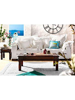 Santorini Flair Beistelltisch Sofa Couchtisch Uhr Home Sweet