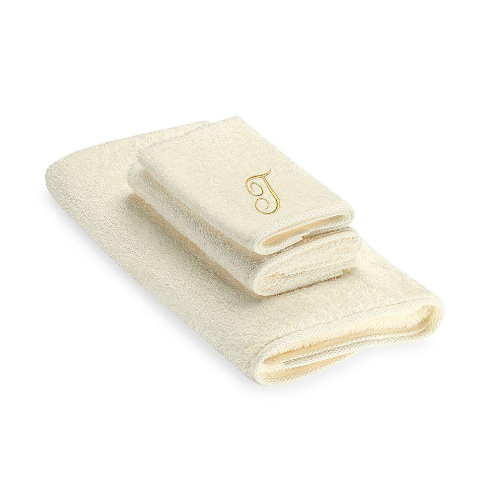Avanti Premier Gold Script Monogram Letter T Fingertip Towel In