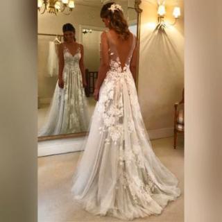 Elegant A-line V-neck Tulle Floor Length Wedding Dresses With Lace Appliques OKC… – Long Prom Dresses
