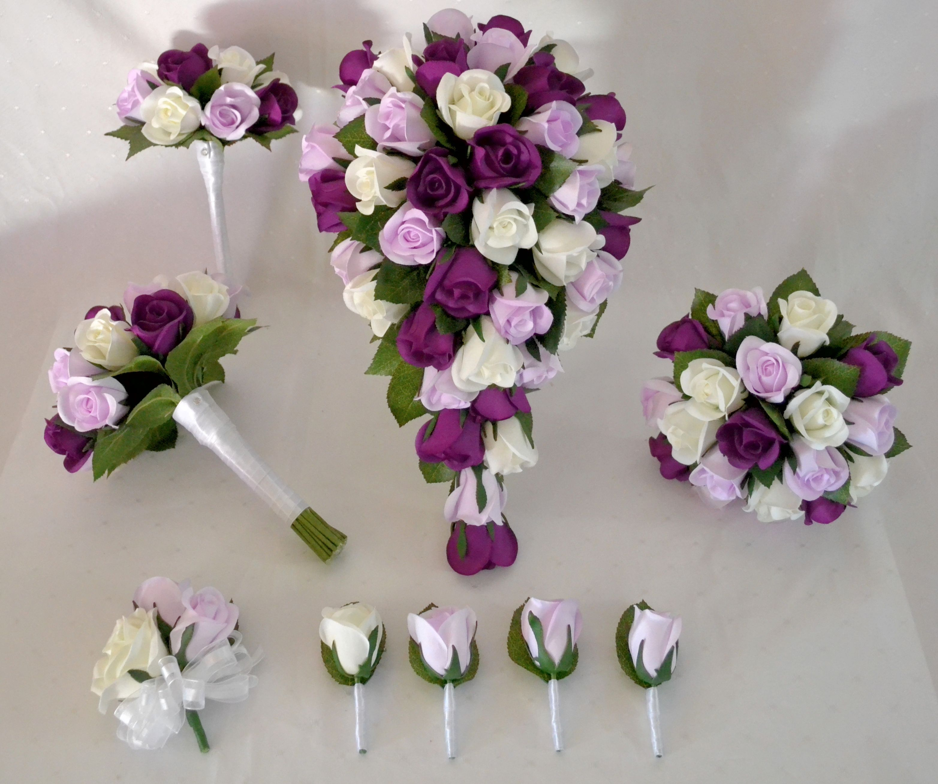 Purple Wedding Ideas With Pretty Details: Pretty Purple, Lavender And White Real Touch Rose Set By