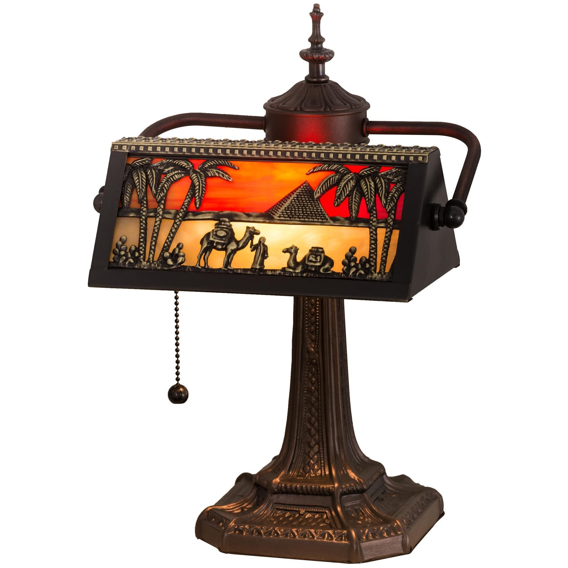 15.5 Inch H Camel Mission Bankers Lamp | Bankers lamp and Solid brass
