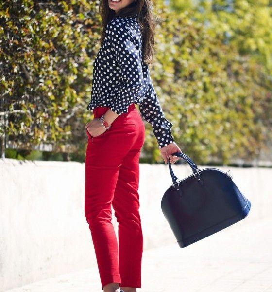 Rojo+Marino | Pantalon rojo mujer, Moda estilo y Moda